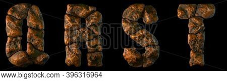Set of rocky letters Q, R, S, T. Font of stone on black background. 3d rendering