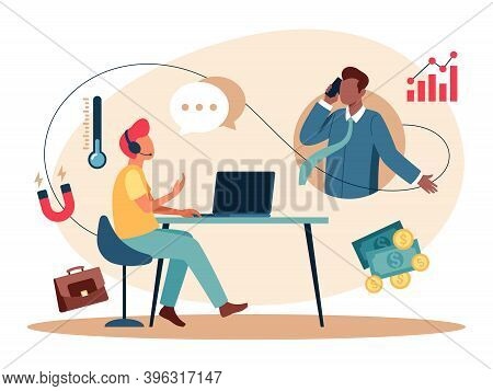 Vector Illustration Of The Cold Calling, Is The Solicitation Of Business From Potential Customers Wh