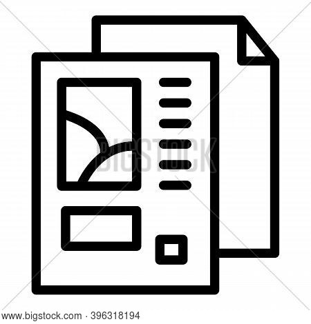 Newspaper Reportage Icon. Outline Newspaper Reportage Vector Icon For Web Design Isolated On White B