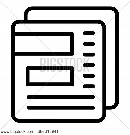 Reportage Papers Icon. Outline Reportage Papers Vector Icon For Web Design Isolated On White Backgro