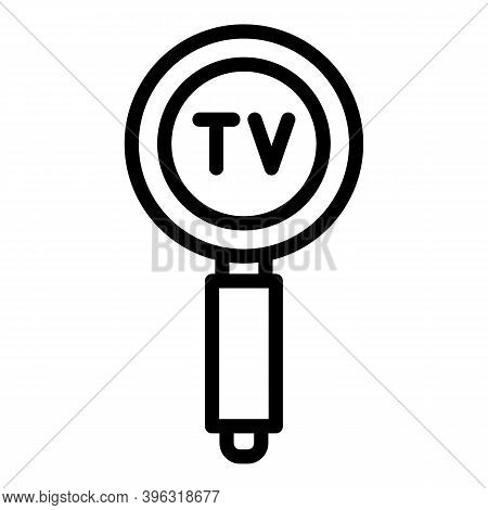 Search Tv Reportage Icon. Outline Search Tv Reportage Vector Icon For Web Design Isolated On White B