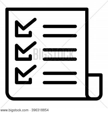 Reportage To Do List Icon. Outline Reportage To Do List Vector Icon For Web Design Isolated On White