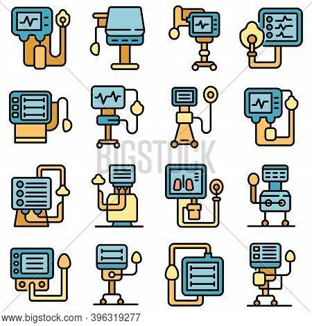 Ventilator Medical Machine Icons Set. Outline Set Of Ventilator Medical Machine Vector Icons Thin Li