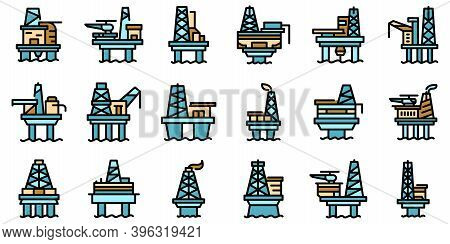 Sea Drilling Rig Icons Set. Outline Set Of Sea Drilling Rig Vector Icons Thin Line Color Flat On Whi