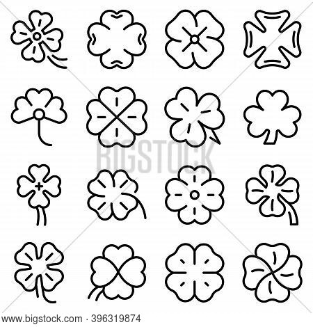 Clover Icons Set. Outline Set Of Clover Vector Icons For Web Design Isolated On White Background