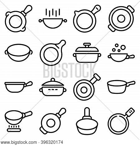 Wok Frying Pan Icons Set. Outline Set Of Wok Frying Pan Vector Icons For Web Design Isolated On Whit