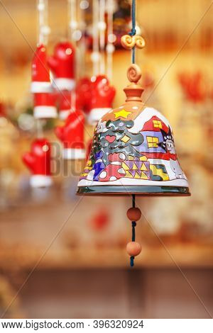 Colorful Ceramic Bell  Sold On Christmas Market In Europe. Bell Clay Souvenir Gift At The Fair. Souv