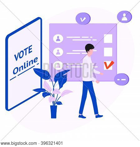 Vector Illustration People Vote Online For Candidate On Phone Election Campaign Online Choices Polit