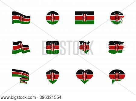 Kenya Flag - Flat Collection. Flags Of Different Shaped Twelve Flat Icons.