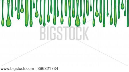 Flows Of Green Fluid. Thick Flowing Paint. Slime. The Drops Are Slipping. The Isolated Object On A W