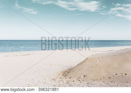 Panorama Of A Beautiful Beach In Monopoli - Puglia (the Beach Is Located At The