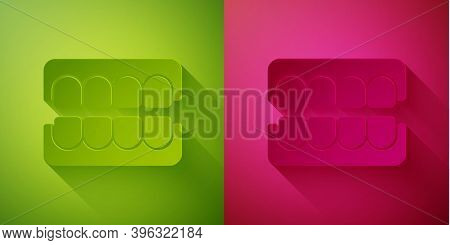 Paper Cut False Jaw Icon Isolated On Green And Pink Background. Dental Jaw Or Dentures, False Teeth