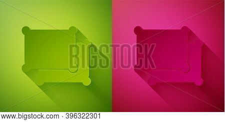 Paper Cut Rectangular Pillow Icon Isolated On Green And Pink Background. Cushion Sign. Paper Art Sty