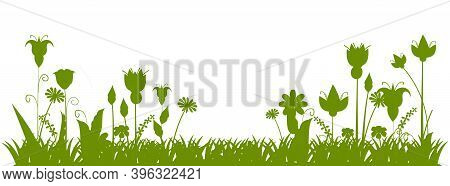 Silhouette Of A Blooming Meadow With Grass, Flowers. Green Landscape. Cartoon Style. Fabulous Illust