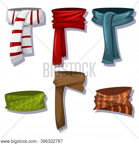 Winter Scarves And Shawls Set For Men And Women. Vector Cartoon Icons Isolated On White Background.