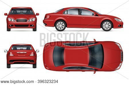 Sedan Car Vector Mockup For Vehicle Branding, Advertising, Corporate Identity. View From Side, Front
