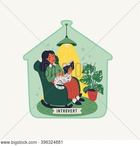 Introvert. Extraversion And Introversion Concept - Young Woman Sitting In An Armchair With A Book An