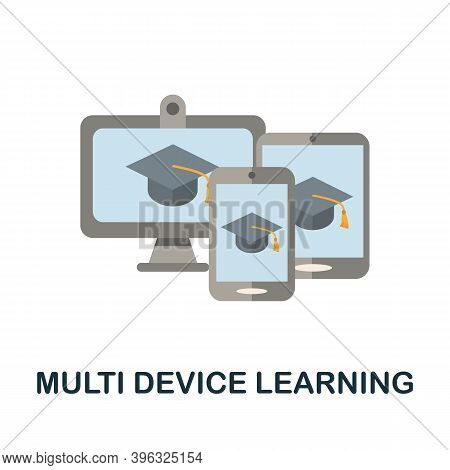Multi Device Learning Icon. Simple Element From Online Education Collection. Creative Multi Device L
