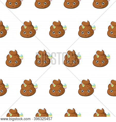 Vector Background With Cure Unicorn Poop. Funny Seamless Pattern With Poo Emoji With A Rainbow Horn
