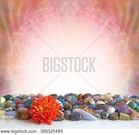 Bright Orange Dahlia Flower And Healing Crystals Message Background - Row Of Random Mixed Multicolou