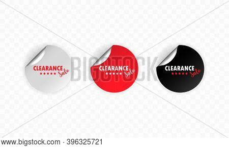 Clearance Sale Icon. Sticker Set. Discount Vector. Clearance Sale Labels Set. Black, Red And White R