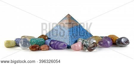 Orgone Pyramid Power And Healing Crystals - Copper Spiral And Clear Quartz On Top Of Blue Chip Stone