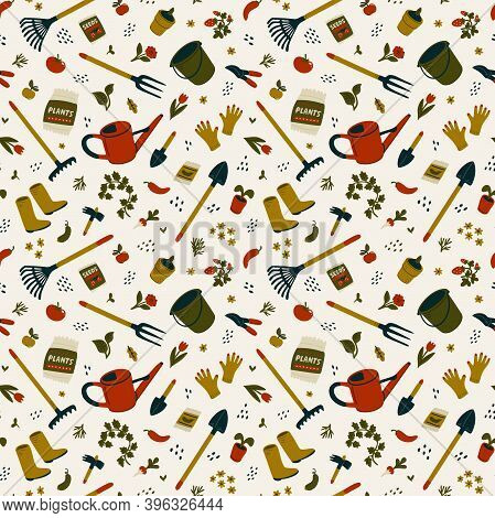 Gardening Seamless Pattern. Different Types Of Tools For Gardening And Landscaping.