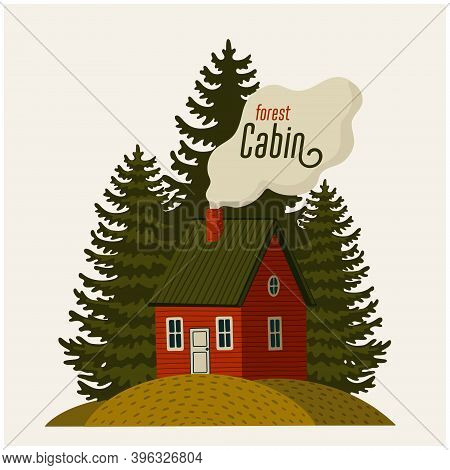 Forest Cabin. Wood House And Pine Trees On Light Background