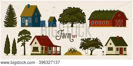 Farm Set. Various Rural Houses, Barns And Different Trees.