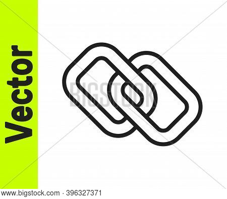 Black Line Chain Link Icon Isolated On White Background. Link Single. Hyperlink Chain Symbol. Vector