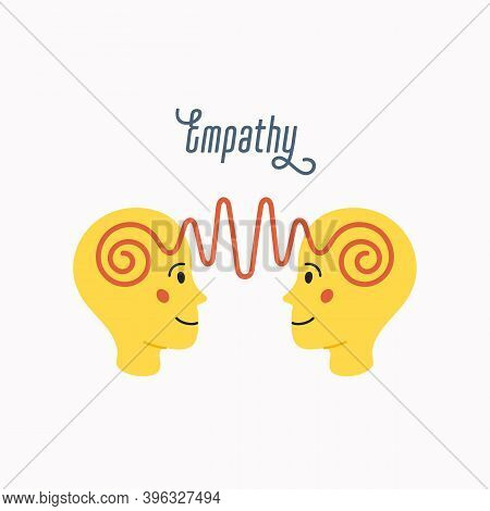 Empathy. Empathy Concept - Silhouettes Of Two Human Heads With An Abstract Image Of Emotions Inside.