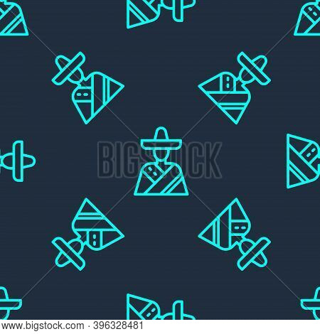 Green Line Mexican Man Wearing Sombrero Icon Isolated Seamless Pattern On Blue Background. Hispanic