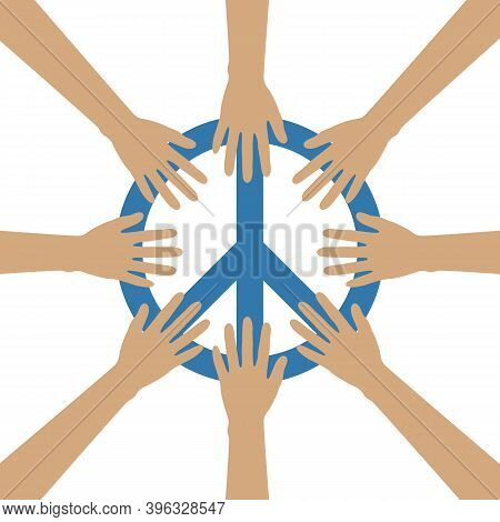Group Of Human Hands Build A Circle Around Peace Symbol Vector Illustration Eps10
