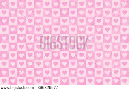 Vintage Pastel Pink Checkered Background With Hearts. Checkered Texture. Space For Graphic Design. C