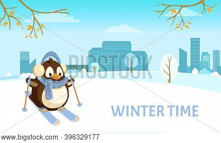 Penguin On Skis In City, Winter Time And Holidays. Bird In Earmuffs And Scarf Skiing On Snow With Ci