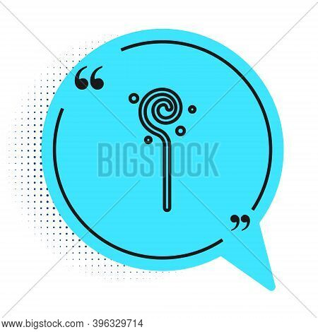 Black Line Magic Staff Icon Isolated On White Background. Magic Wand, Scepter, Stick, Rod. Blue Spee