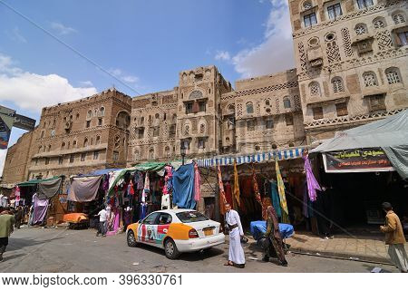 Sanaa, Yemen - March 6, 2010: Typical Street In Old City Of Sanaa. Inhabited For More Than 2.500 Yea