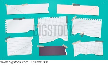Set Of Torn White Note, Notebook Paper Pieces Stuck With Sticky Tape On Turquoise Background. Vector