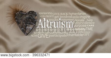 Words Associated With Altruism Golden Word Cloud  Banner - An Altruism Word Cloud Against A Pale Gol