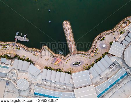 Ras Al Khaimah, United Arab Emirates - October 23, 2020: Aerial View Of Manar Mall And The Promenade