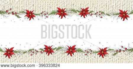 Seamless Vector Frame Of Winter Flowers, Poinsettias And Branches Of Rowan. Hand-drawn Sketch,  Draw