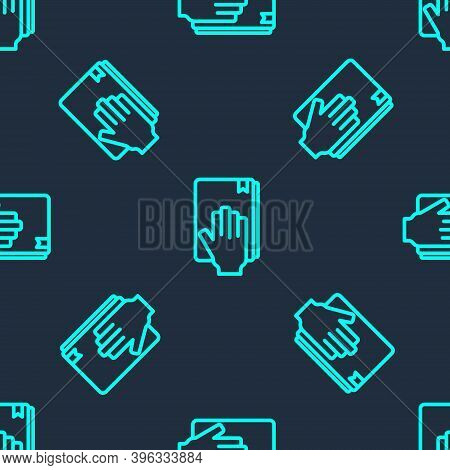 Green Line Oath On The Holy Bible Icon Isolated Seamless Pattern On Blue Background. The Procedure I