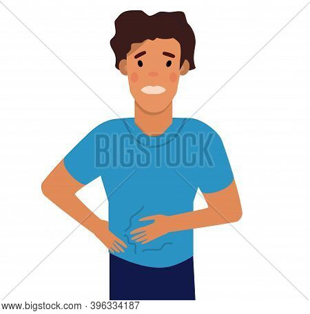Man Suffering From Abdominal Bloating.a Swollen State Caused By Retention Of Gas.boy Has Stomach Ach