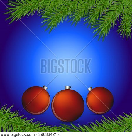 Merry Christmas And Happy New Year Background. Christmas Tree  Branches With New Year's Toys On A Bl