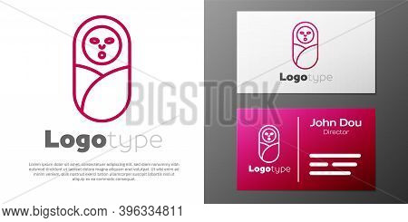 Logotype Line Newborn Baby Infant Swaddled Or Swaddling Icon Isolated On White Background. Baby Kid