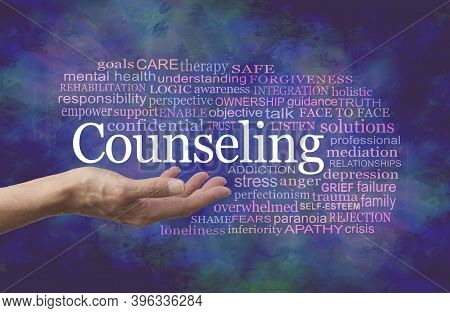 Words Associated With Counseling Word Cloud - Female Therapist With Open Palm And The Word Counselin