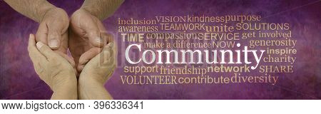 Careworker In The Community Campaign Word Cloud - Female Hands Holding Male Cupped Hands Beside A  C