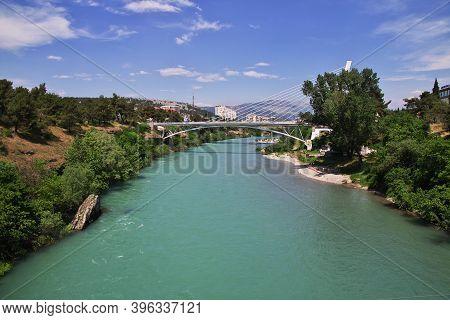 Podgorica, Montenegro - 07 May 2018: The Bridge In Podgorica City In Montenegro