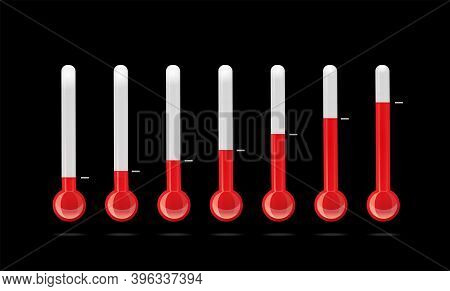 Set Of Thermometers With Different Temperature Indicators.