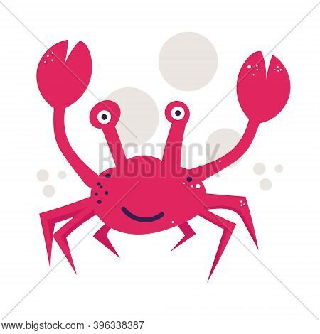 Funny red crab hand drawn vector illustration.  crustaceans cartoon character. Underwater animal  isolated on white background. Childish t shirt print design